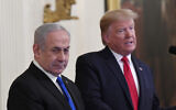 US President Donald Trump (R) speaks during an event with Prime Minister Benjamin Netanyahu in the East Room of the White House in Washington, January 28, 2020. (AP Photo/Susan Walsh)