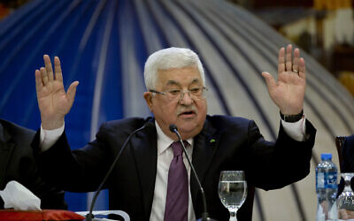 Palestinian Authority President Mahmoud Abbas speaks after a meeting of the Palestinian leadership in the West Bank city of Ramallah, January 22, 2020. (Majdi Mohammed/AP)
