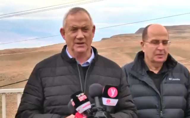 Blue and White chairman (C) Benny Gantz speaks to reporters while touring the Jordan Valley on January 21, 2019. (Screen capture: Twitter)