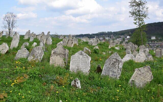 The late-16th century Buchach Jewish cemetery in western Ukraine has some 2,000 gravestones. (Courtesy/ESJF).