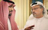 Mohammed bin Salman, left, and murdered journalist Jamal Khashoggi. (Orwell Productions)