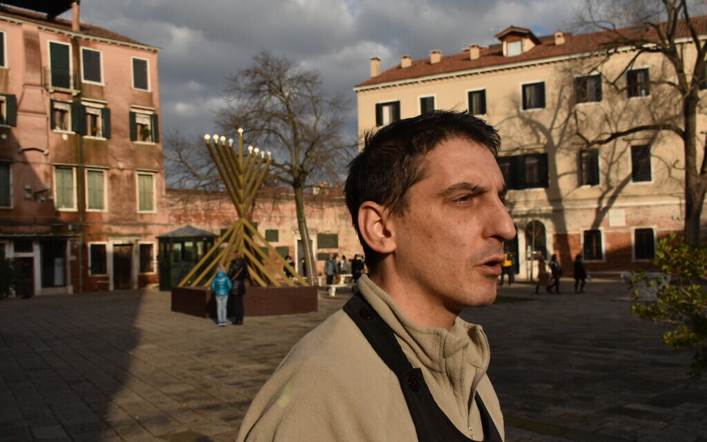 Fabio Penazzo, a hotel manager in Venice's Jewish ghetto, says God helped keep the damage to a minimum in record-setting flooding last November. Photo taken on December 28, 2019. (Giovanni Vigna/ Times of Israel)