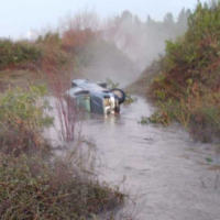 A car that was swept away in floods at the Dalia Stream in northern Israel on January 5, 2020, and found January 6 next to the driver's body. (Israel Police)