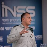 The head of Israeli Miiltary Intelligence Maj. Gen. Tamir Hyman speaks at the Institute for National Security Studies think tank in Tel Aviv on January 28, 2020. (Israel Defense Forces)