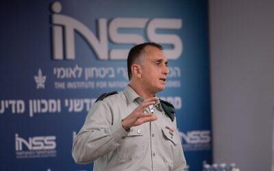 The head of Israeli Miiltary Intelligence Maj. Gen. Tamir Hyman speaks at the Institute for National Security Studies think tank in Tel Aviv on January 28, 2020. (Israel Defense Forces)