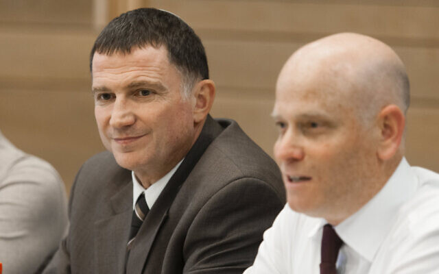 Knesset Speaker Yuli Edelstein (L) and Knesset legal adviser Eyal Yinon at the Knesset on May 7, 2013. (Flash)