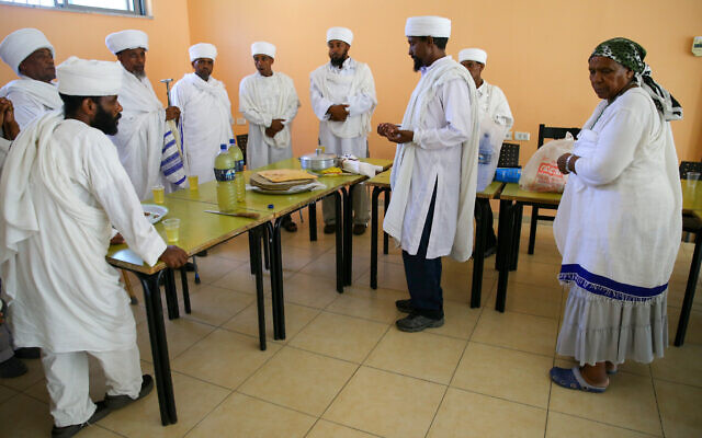 Illustrative: Ethiopian religious leaders, in the Israeli town of Yavne, prepare for a large demonstration against their mistreatment in Israeli society, June 22, 2015. (FLASH90)