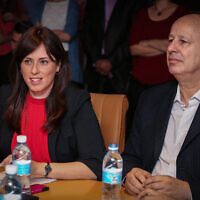 Tzipi Hotovely (L) and Tzachi Hanegbi (R) at a Foreign Affairs and Security Committee meeting at the Foreign Ministry in Jerusalem on July 21, 2015 (Hadas Parush/Flash90)
