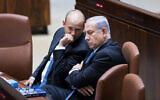 Prime Minister Benjamin Netanyahu (R) speaks with then educationminister Naftali Bennett during a Knesset plenum session on November 13, 2017. (Yonatan Sindel/Flash90)