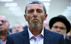 Rafi Peretz, then-leader of the Jewish Home party, in Petah Tikva, February 20, 2019. (Gili Yaari/Flash90)