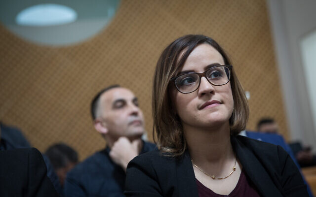 Heba Yazbak at the Supreme Court in Jerusalem for a hearing on whether to disqualify the Ra'am-Balad from running in the general elections, March 14, 2019. (Hadas Parush/Flash90)