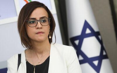 MK Heba Yazbak of the Ra'am-Balad party holds a press conference in Jerusalem on April 16, 2019. (Noam Revkin Fenton/Flash90)