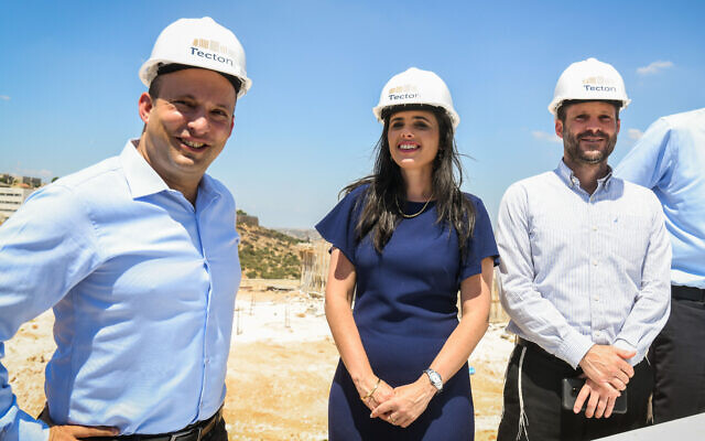 From left to right: Naftali Bennett, Ayelet Shaked and Bezlale Smotrich at a campaign event in the West Bank settlement of Elkana on August 21, 2019. (Ben Dori/Flash90)