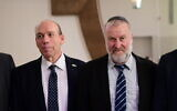 Attorney General Avichai Mandelblit (R) and State Comptroller of Israel Matanyahu Englman at annual justice conference on September 3, 2019. (Tomer Neuberg/Flash90)