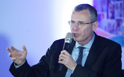 Tourism Minister Yariv Levin attends a conference on September 5, 2019. (Hillel Maeir/Flash90)