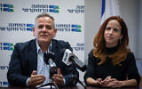 Democratic Camp party leaders MK Nitzan Horowitz, left, and Stav Shaffir at a faction meeting at the Knesset, in Jerusalem, on November 25, 2019. (Hadas Parush/Flash90)