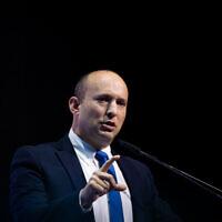 Defense Minister Naftali Bennett speaks during the Makor Rishon conference at the International Convention Center in Jerusalem, December 8, 2019. (Yonatan Sindel/Flash90)