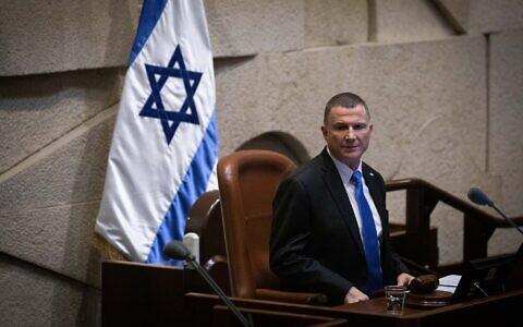 Knesset Speaker Yuli Edelstein seen at the Knesset in Jerusalem on December 11, 2019. (Hadas Parush/Flash90)