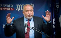 Avigdor Liberman speaks during a press conference at the Knesset on December 11, 2019. (Yonatan Sindel/Flash90)