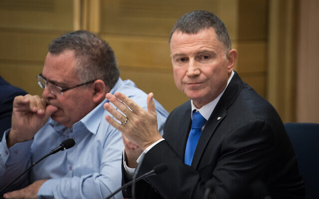 Speaker of the Knesset Yuli Edelstein attends the first election committee meeting at the Knesset on December 18, 2019. (Hadas Parush/Flash90)