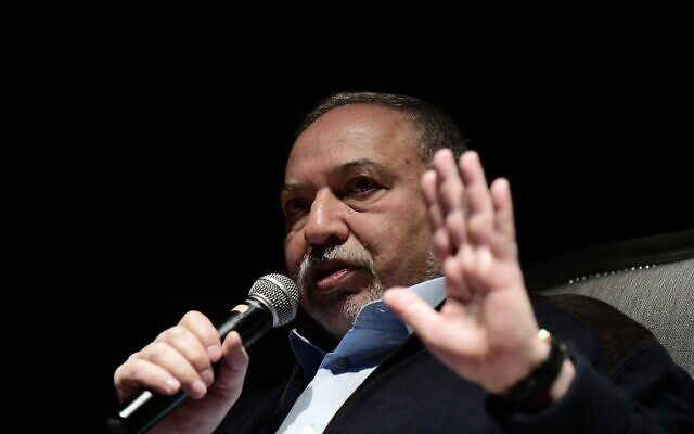 Yisrael Beytenu chairman Avigdor Liberman speaks during a culture event in Glilot, on December 20, 2019. (Tomer Neuberg/Flash90)