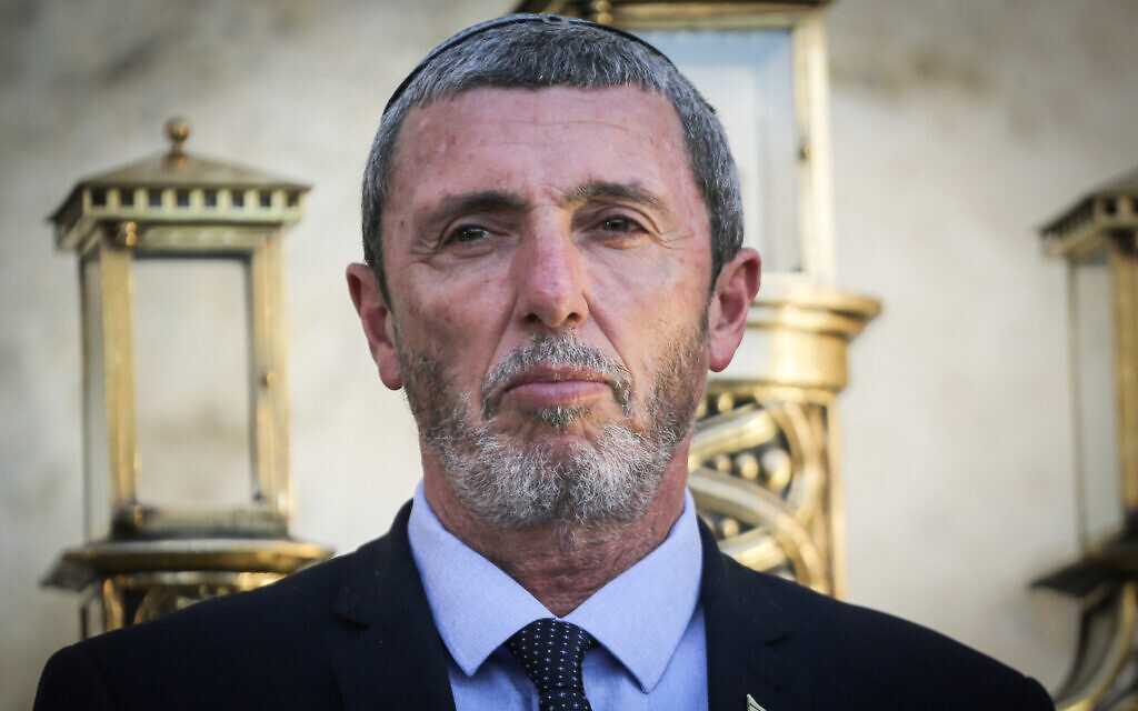 Education Minister Rafi Peretz attends a Hanukkah candle lighting ceremony at the Western Wall in Jerusalem's Old City, December 23, 2019. (Flash90)