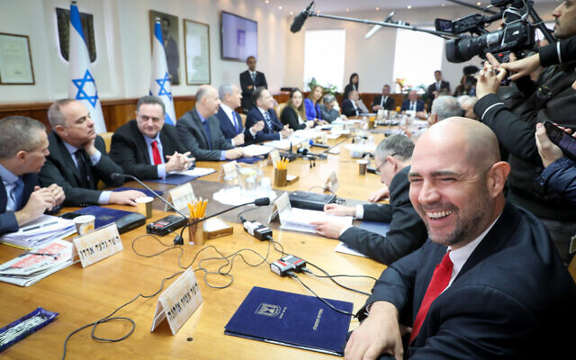 The weekly cabinet meeting, at the Prime Minister's Office in Jerusalem, on December 29, 2019. (Marc Israel Sellem)