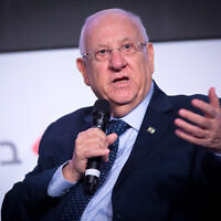 President Reuven Rivlin speaks at the Calcalist conference in Tel Aviv on December 31, 2019. (Miriam Alster/FLASH90)
