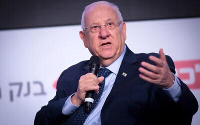 President Reuven Rivlin speaks at the Calcalist conference in Tel Aviv on December 31, 2019. (Miriam Alster/FLASH90)