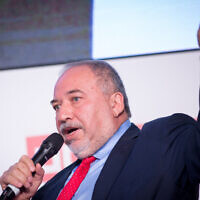 Yisrael Beytenu leader Avigdor Liberman attends the Calcalist business daily conference in Tel Aviv on December 31, 2019. (Miriam Alster/Flash90)
