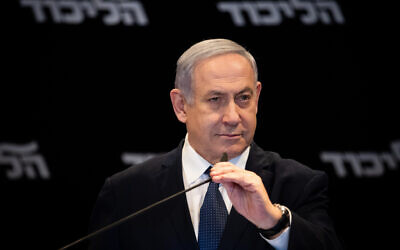 Prime Minister Benjamin Netanyahu at the Orient Hotel in Jerusalem on January 1, 2020. (Yonatan Sindel/Flash90)