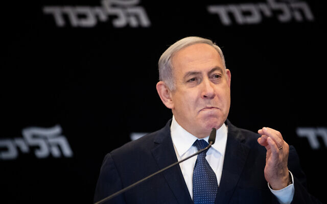 Prime Minister Benjamin Netanyahu gives a press conference at the Orient Hotel in Jerusalem, on January 1, 2020. (Yonatan Sindel/ Flash90)