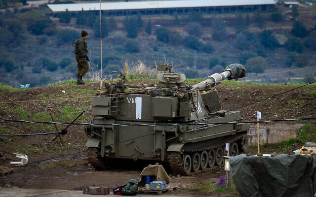 IDF troops near the Israel-Syria border, in the Golan Heights on January 3, 2020. (Basel Awidat/Flash90)