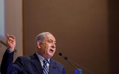 Prime Minister Benjamin Netanyahu speaks during the Kohelet Forum Conference at the Begin Heritage Center, in Jerusalem, on January 8, 2020. (Olivier Fitoussi/Flash90)