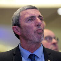 Education Minister Rafi Peretz attends a meeting of the Jewish Home party in Tel Aviv, January 13, 2020. (Gili Yaari/Flash90)