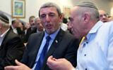 Rafi Peretz, left, and MK Moti Yogev attend a meeting of the Jewish Home party in Tel Aviv on Jan 13, 2020. (Gili Yaari / Flash90)