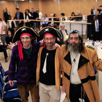 Pirate Party representatives register their slate for the March 2, 2020, election, at the Central Elections Committee in the Knesset on January 15, 2020. (Raoul Wootliff/The Times of Israel)