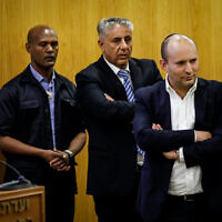 New Right chairman Naftali Bennett arrives to present his party list at the Knesset on January 15, 2020.(Olivier Fitoussi/Flash90)