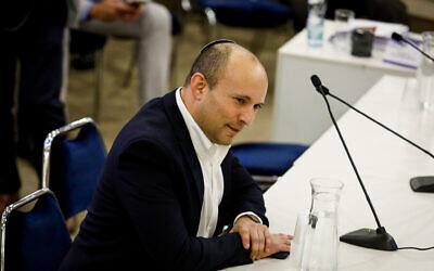 Defense Minister Naftali Bennett at the Knesset, in Jerusalem, on January 15, 2020. (Olivier Fitoussi/Flash90)