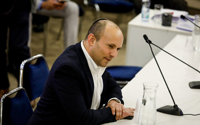 Defense Minister Naftali Bennett at the Knesset, in Jerusalem, on January 15, 2020. (Olivier Fitoussi/Flash90)