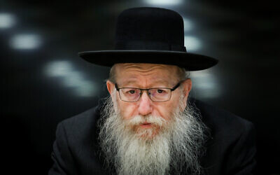 Health Minister Yaakov Litzman at a press conference on January 17, 2020. (Flash90)