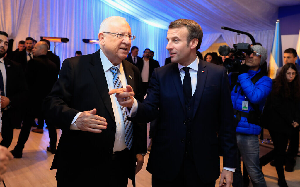 President Reuven Rivlin with French Prime Minister Emmanuel Macron at the President's Residence as Rivlin hosts over 40 world leaders as part of the World Holocaust Forum on January 22, 2020. (Olivier Fitoussi/Flash90)