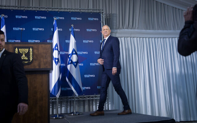 Blue and White party leader Benny Gantz holds a press conference in Ramat Gan on January 25, 2020. (Miriam Alster/Flash90)