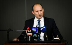 Defense Minister Naftali Bennett gives a statement to the media in the West Bank settlement of Ariel, January 26, 2020. (Sraya Diamant/Flash90)