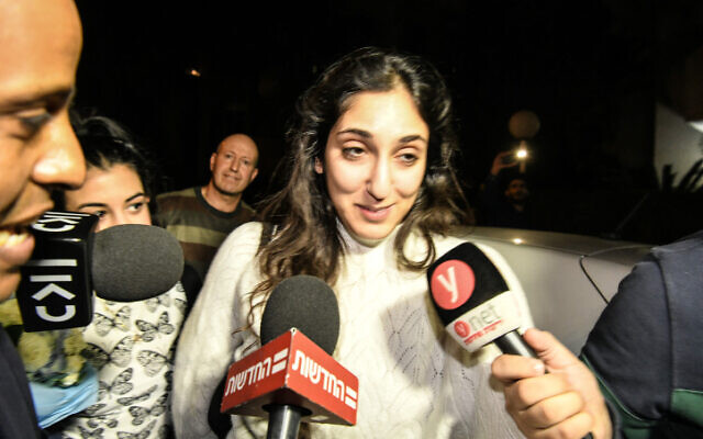 Naama Issachar, an Israeli-American woman who was jailed in Russia on drug charges, and received a pardon from Russian President Vladimir Putin, arrives to her home in Rehovot, January 30, 2020. (Meir Vaknin/Flash90)