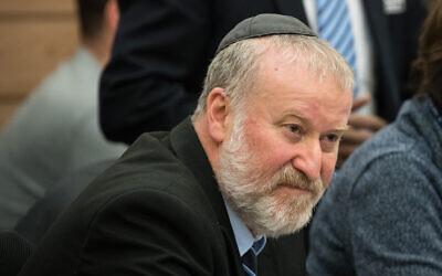 Attorney General Avichai Mandelblit attends a debate on Likud MK Haim Katz's request for immunity at the Knesset House Committee, January 30, 2020. (Yonatan Sindel/Flash90)