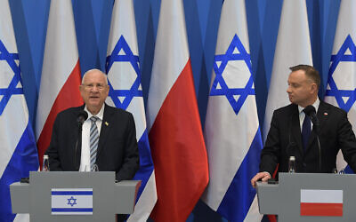 President Reuven Rivlin meets with Polish President Andrzej Duda in Krakow, Poland, January 27, 2020 (Amos Ben Gershon/GPO)