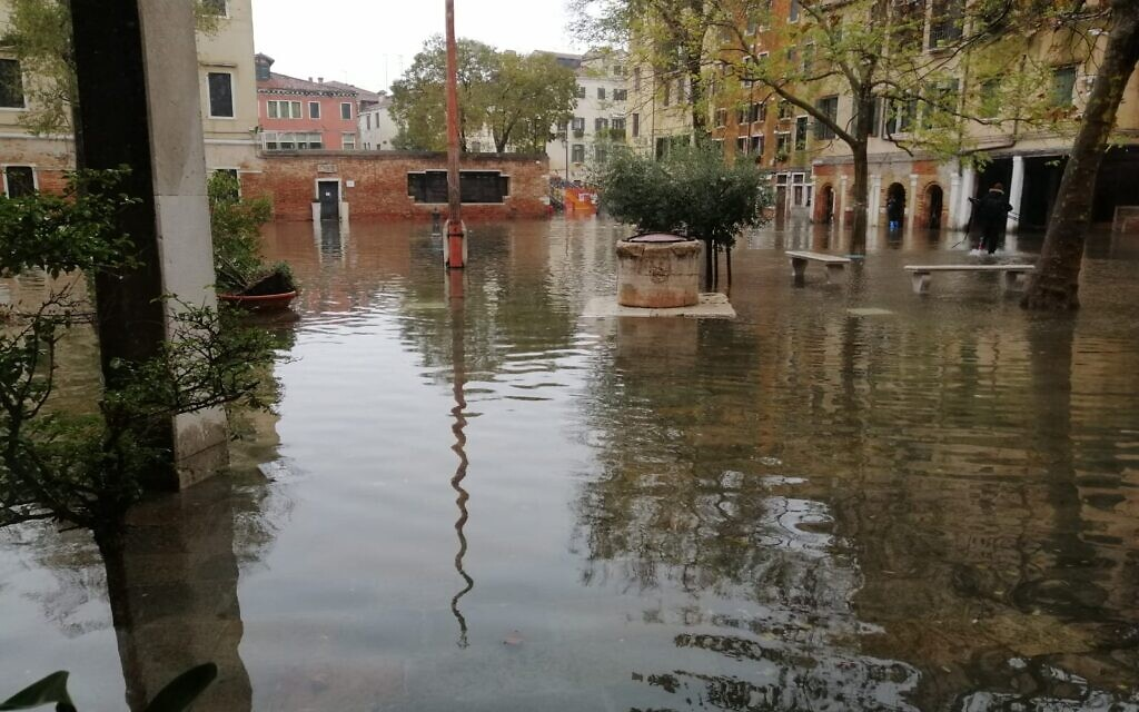 The Campo del Ghetto Nuovo, the Venice Jewish ghetto's religious and commercial hub, experienced unusually high flooding in November 2019. (Giovanni Vigna/ Times of Israel)