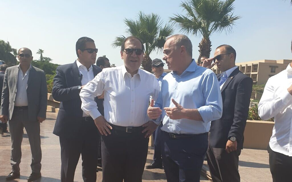 An undated photo of Energy Minister Yuval Steinitz (R) and Egyptian Petroleum Minister Tarek El-Molla speaking during a meeting of the Eastern Mediterranean Gas Forum, in Cairo, Egypt. (courtesy, Israeli Energy Ministry)