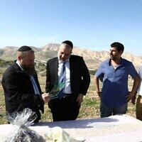 Interior Minister Aryeh Deri, second left, visiting the Jordan Valley on January 28, 2019. (Yaakov Cohen/Shas campaign)